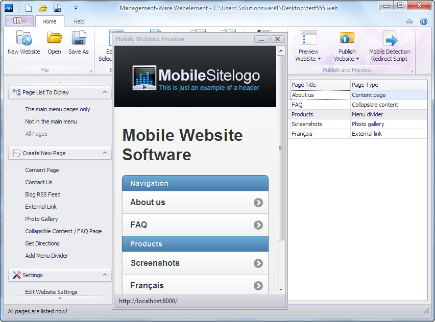 Design your own Mobile Website with our easy-to-use Website builder software
